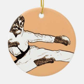 Karate Kat Round Ceramic Ornament