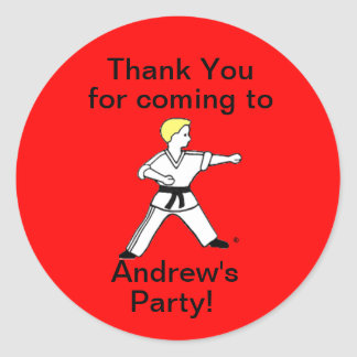 Karate Kid 11 Thank You Party Sticker
