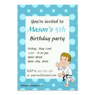 Karate kid cartoon birthday print invitations