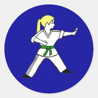Karate Kid Girl #6 blond hair green belt Classic Round Sticker