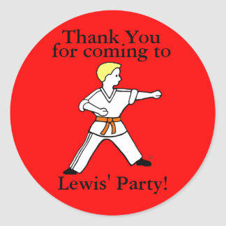 Karate Kid Party Stickers customized for Lewis