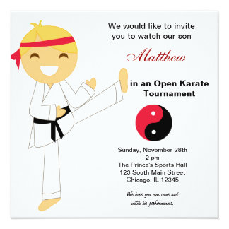 "Karate Kids Tournament 5.25"" Square Invitation Card"