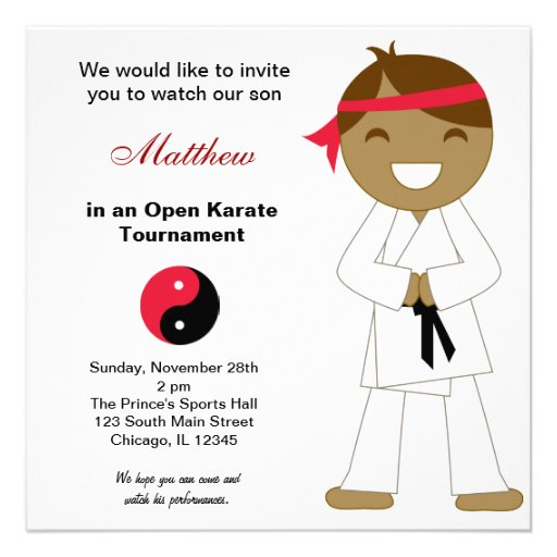 Karate Kids Tournaments Personalized Invitations
