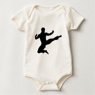 Karate Kung Fu Flying Kick Man Silhouette Baby Bodysuit