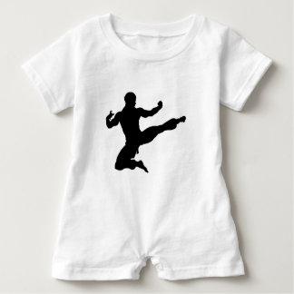 Karate Kung Fu Flying Kick Man Silhouette Baby Romper
