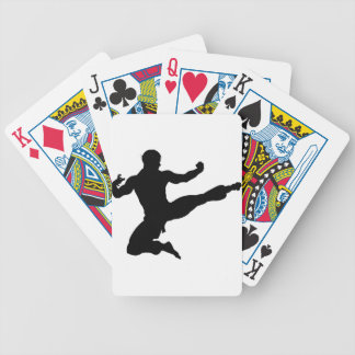 Karate Kung Fu Flying Kick Man Silhouette Bicycle Playing Cards
