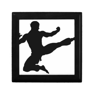 Karate Kung Fu Flying Kick Man Silhouette Gift Box