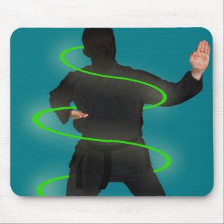 Karate man in glow circles, mousepad