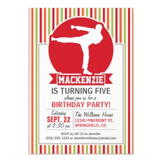 "Karate, Martial Arts; Red, Green, Orange Stripes 5"" X 7"" Invitation Card"