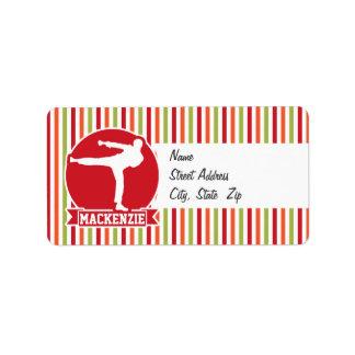 Karate, Martial Arts; Red, Green, Orange Stripes Personalized Address Labels