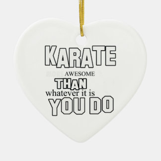 karate martial design ceramic heart ornament