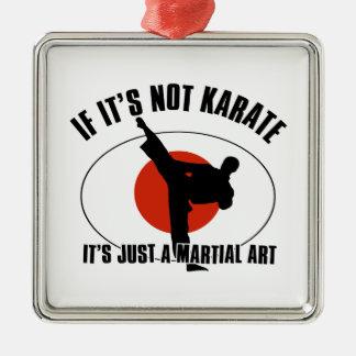 karate martial design Silver-Colored square ornament