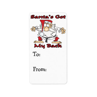 karate santas got my back funny cartoon personalized address labels