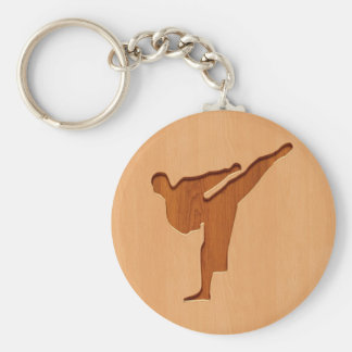 Karate silhouette engraved on wood effect basic round button keychain