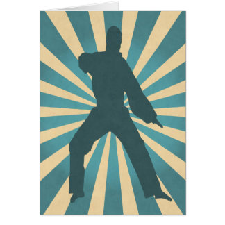Karate Silhouette w/ Sunburst Birthday Card