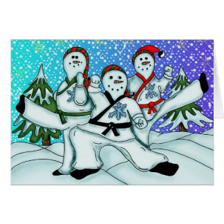 Karate Snowmen Greeting Card