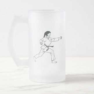 Karate Womyn Frosted Glass Beer Mug
