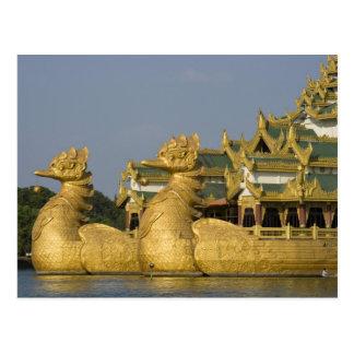 Karaweik Hall is a landmark of Yangon, locating Postcard