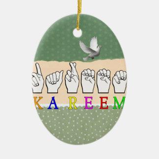 KAREEM ASL FINGERSPELLED NAME SIGN DEAF CERAMIC ORNAMENT