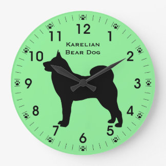 Karelian Bear Dog Silhouette Personalized Large Clock