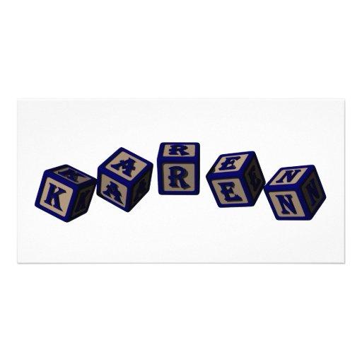 Karen toy blocks in blue custom photo card