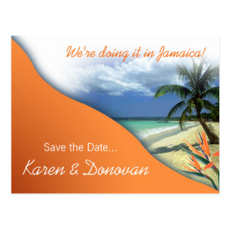 Karen's Custom Jamaica Save The Date (papaya) Postcard