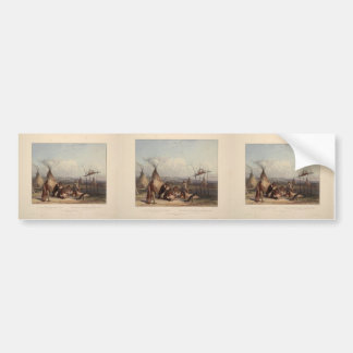 Karl Bodmer- Funeral Scaffold of a Sioux Chief Bumper Stickers