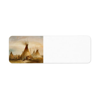 Karl Bodmer- Sioux teepee Return Address Label