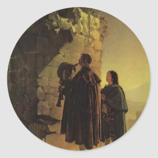 Karl Bryullov- Pifferary in front of Madonna Classic Round Sticker