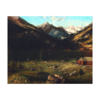 Karl Heffner Mountainscape with a House by a Lake Canvas Print