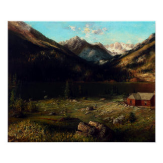 Karl Heffner Mountainscape with a House by a Lake Poster
