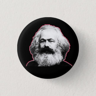 Karl Marx red outline/black 1 Inch Round Button