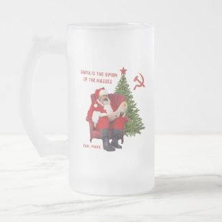 Karl Marx Santa Frosted Glass Beer Mug