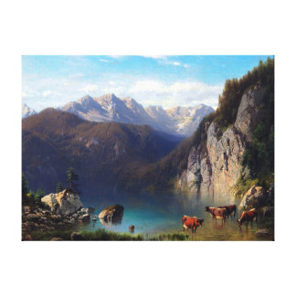 Karl Millner The Alpsee with Cattle Canvas Print