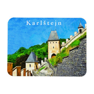 Karlstejn. View of the Gothic castle. Magnet