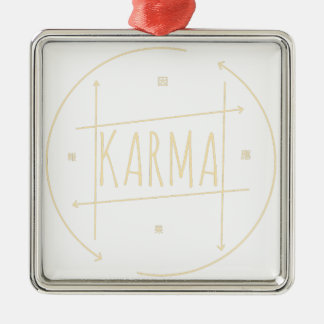 Karma (For Dark Background) Metal Ornament