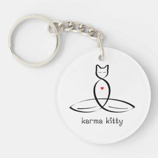 Karma Kitty - Fancy style text. Single-Sided Round Acrylic Keychain
