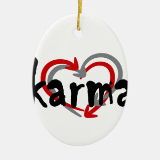 karma T-Shirt.png Ceramic Oval Ornament
