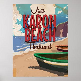 Karon Beach thailand vintage travel poster