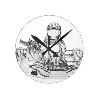 Kart Racer Pencil Sketch Wall Clocks