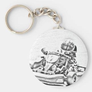 Kart Racing B/W Shading Basic Round Button Keychain