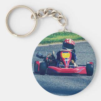 Kart Racing Basic Round Button Keychain