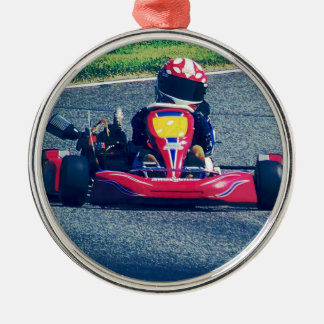 Kart Racing Silver-Colored Round Ornament