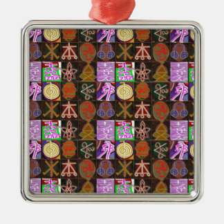 KARUNA Reiki = Gifts of Cosmic Kindness n Healing Silver-Colored Square Ornament