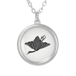 Kashiwa crane silver plated necklace