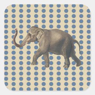 Kashmir Blue Spice Moods Dots with Elephant Square Sticker