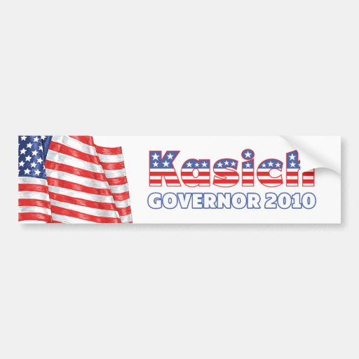 Kasich Patriotic American Flag 2010 Elections Bumper Stickers