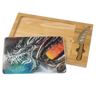 Kaskets Spray Art - Swallow of world's cutting set Round Cheese Board
