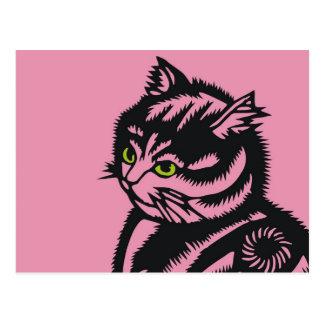 Katagami Cat Pink Postcard