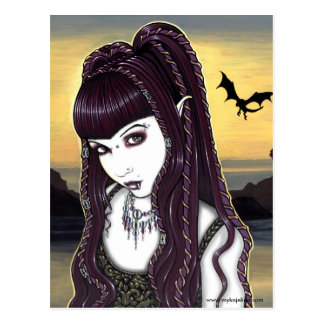 Katana Gothic Dragon Goddess Postcard